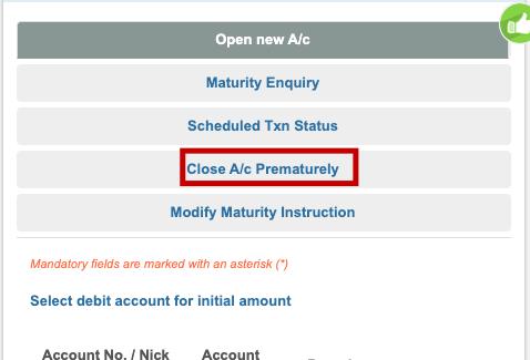 SBI FD closed Premature